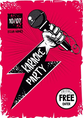 Vintage poster with hand and microphone. Vocal battle background. Retro style vector template. Stok Fotoğraf - 131971641
