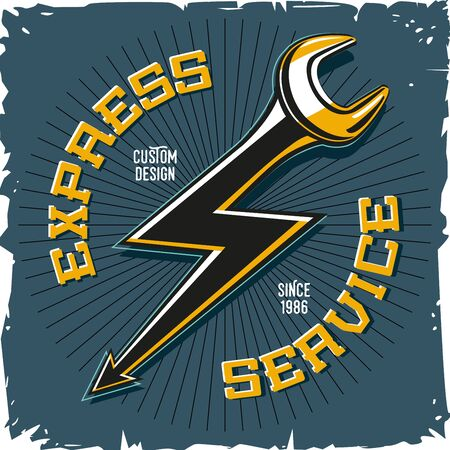 Home repair service. Work shop vector emblem with tool and lightning. Auto mechanic key. Illustration