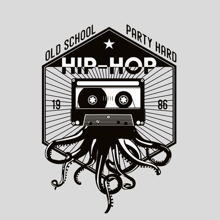 Vintage music emblem . Octopus tentacles and audio cassette. Night party retro icon. Dance festival template.  イラスト・ベクター素材