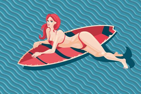 Young girl with surfboard. Sexy woman in a swimsuit with surfing board. Vector cartoon illustration, pin up style.