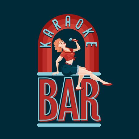 Vintage bar emblem. Pin-up style girl with microphone. Retro music party. Night club vector illustration.