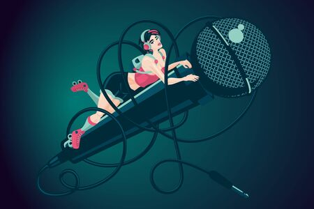 Girl with microphone. Music illustration with young woman. Cartoon vector illustration. Modern pinup style.