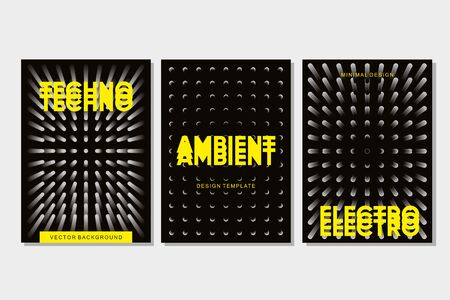 Underground rave. Electronic festival banner template. Techno music poster set.