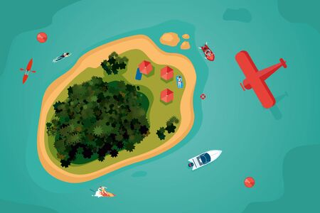 Island top view. Tropical sea resort with people. Bird view of an ocean. Summer vacation vector illustration.