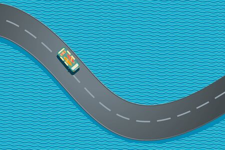 Car with sufboards. Summer vacation trip. Ocean road top view. Vector catoon illustration.