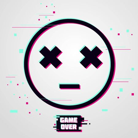 Game over vector background. Emoticon with glitch effect. Cyber gamer poster. Illustration