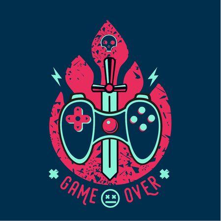 Video games vector illustration with gamepad and sword. Game over slogan. Vintage print for t-short. Cyber sport team emblem.