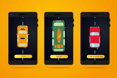 Taxi, car rent and carsharing service. Web mobile app for auto rental. Auto booking vector concept with phone. Flat style illustration. Stock Illustratie