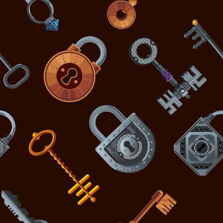 Keys and locks. Vector seamless pattern. Vintage texture. Fantasy style background. Foto de archivo - 134526504