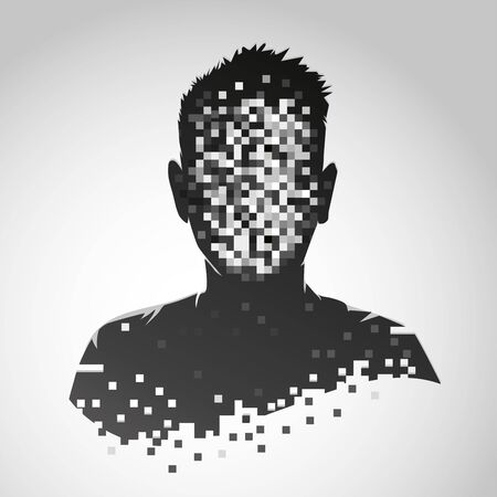 Anonymous vector icon. Privacy concept. Human head with pixelated face. Personal data security illustration. Ilustração