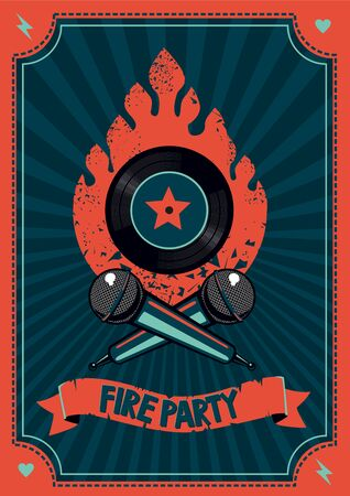 Dance party poster with mic and vinyl record. Music festival background. Vector graphic design.