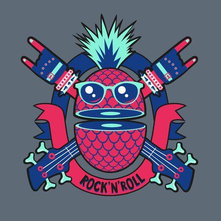Funky pineapple. Vintage music print for t-short. Rock band emblem.
