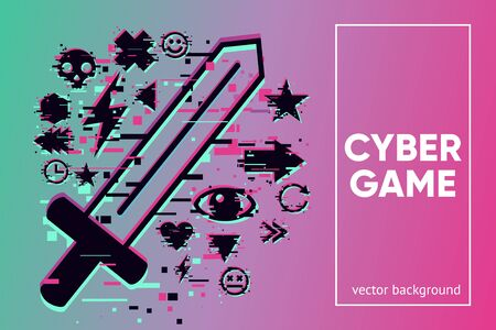 Cyber sword. Video game vector emblem with glitch effect. Fantasy battle background with hologram knife.