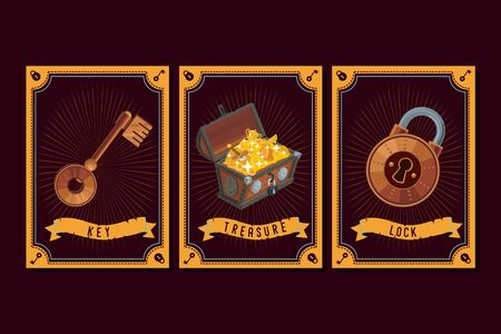 Game asset pack. Fantasy card with magic items. User interface design elements with decorative frame. Cartoon vector illustration.