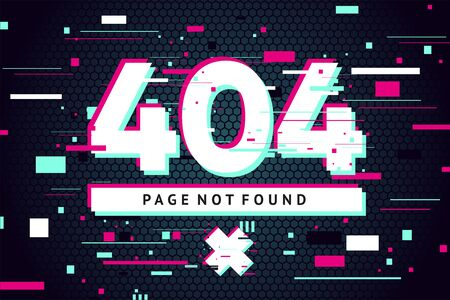 404 web page with error message. Glitch style vector background. Futuristic vector illustration. Banner with glitchy text.