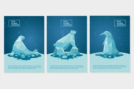 Global warming concept. Climate change background. Ecology poster set with polar animals and iceberg. Cartoon vector illustration. Standard-Bild - 134742385