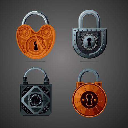 Cartoon vector lock. Fantasy assets. Game design concept for gui. Vintage vector icon.