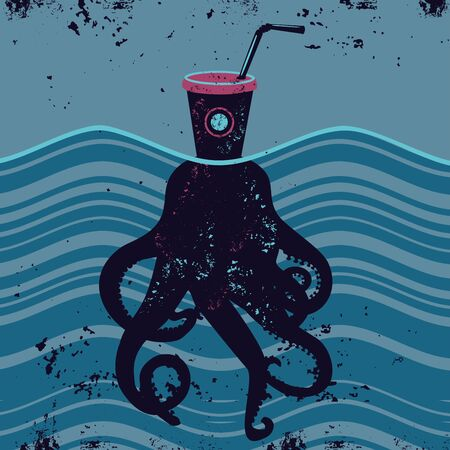 Stop plastic pollution. Eco concept vector illustration. Ecology illustration with garbage and octopus .