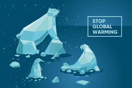 Global warming concept. Climate change background. Ecology poster set with polar animals and iceberg. Cartoon vector illustration.