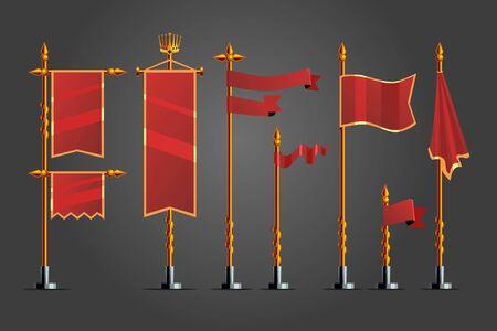 Medieval cartoon flag set. Fantasy concept, Game design assets .