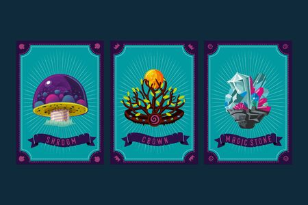 Mushroom, crystal and crown. Game asset pack. Fantasy card with magic items. User interface design elements with decorative frame. Cartoon vector illustration.