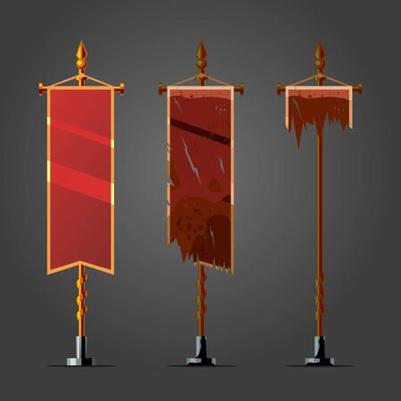 Vintage grunge flag. Game assets vector icon. Ancient standart collection on isolated background.