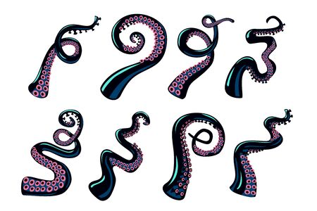 Octopus tentacles set. Cartoon style color clip art. Vector design elements collection on isolated white background. Illustration