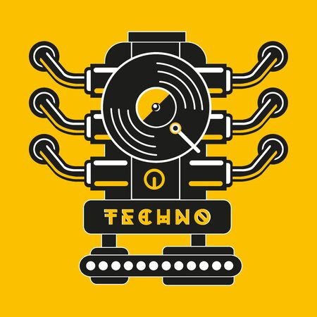 Vinyl record with car engine. Techno and industrial party poster. Hip-hop music vector sign.