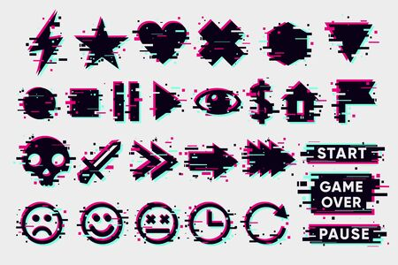 Glitch icons set. Interface navigation elements with glitchy effect. Vector signs collection. Иллюстрация