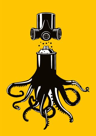Graffiti spray can with octopus tentacles. Vector poster with spraycan. Art background. Tshirt apparel print.
