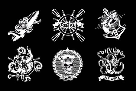 Water sport vintage icon set. Retro style vector emblem pack. Ship and boats equipment. Black and white nautical labels.