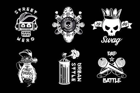 Hip hop vintage icon set. Black and white rap labels. Retro style vector emblem pack. Street culture prints.