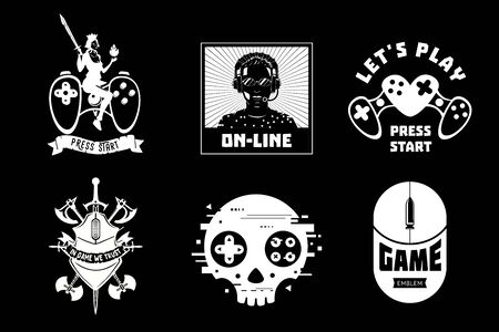 Video game vector emblem set. Cyber sport team insignia. Gamer retro style signs collection.