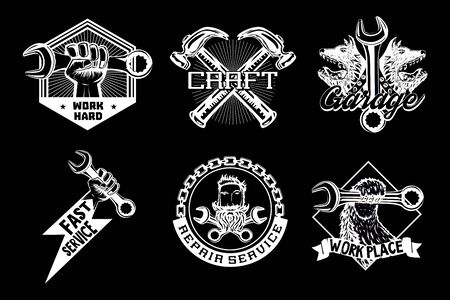 Workshop vector emblem. Retro style garage icons. Vintage signs collection. Black and white illustration set. Craft style print.