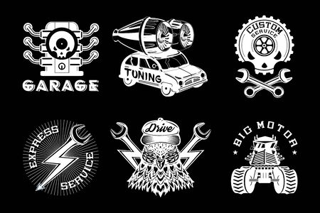 Auto service vector emblem. Retro style car. Vintage icons collection. Black and white illustration set. Garage print. Vettoriali