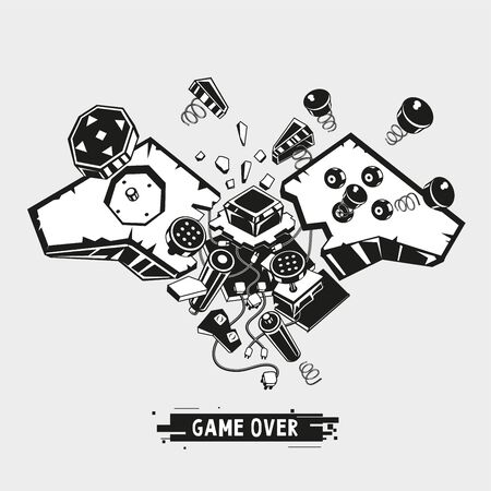 Broken joystick. Gamepad parts. Video game poster. Game over t shirt print. Vector graphic illustration.