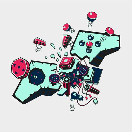 Broken joystick. Gamepad parts. Video game poster. Game over t shirt print. Vector graphic color illustration.
