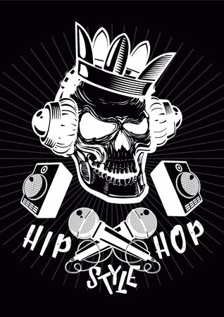 Hip-hop poster with skull. Vettoriali