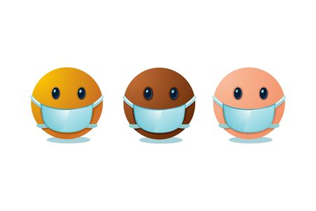 Emoji set with medical mask. International people cartoon faces. Virus protection concept.