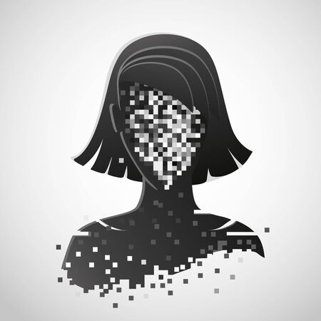 Anonymous vector icon. Privacy concept. Personal data security illustration. Human head with pixelated face.