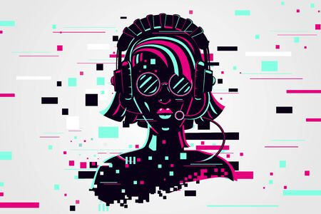 Girl gamer portrait. Video games background, glitch style. Female online user. Vector illustration.