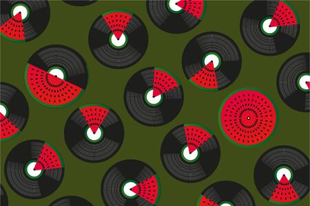 Summer music festival background. Tropical party vector poster. Horizontal banner. Illustration with vinyl records and watermelon.
