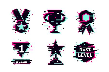 Glitch style vector awards. Cyber sport trophy icons set. Computer game achievement.