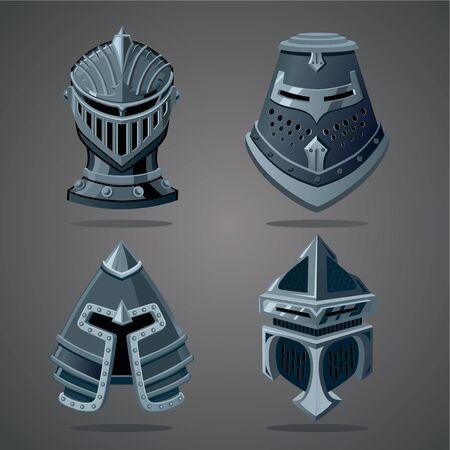 Antique knight helmet set. Cartoon vector illustration. Vector assets. Ilustração