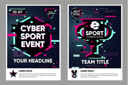 Cyber sport poster. Electronic games backgrounds. Glitch style banner for web event. Vector illustration, neon colors