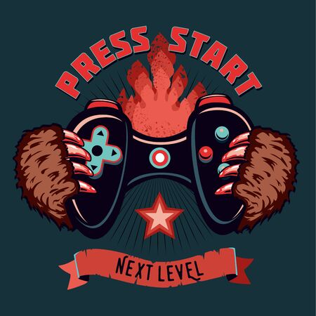Gamepad in a monster hand. Electronic game cartoon illustration. Vintage vector emblem. Tattoo style.