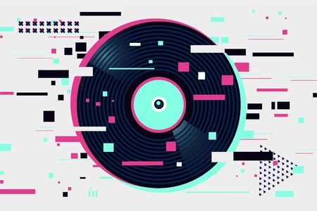 Glitch style vinyl record. Night party background. Abstract banner with neon colors and geometric shapes.Electronic music digital festival.