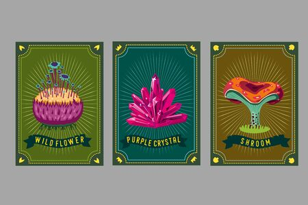 Card game collection. Fantasy ui kit with magic items. User interface design elements with decorative frame. Cartoon vector illustration. Mushroom, crystal and plant.