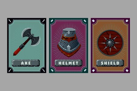Game asset pack. Fantasy card with magic items. User interface design elements with decorative frame. Cartoon vector illustration. Helmet, axe and shield.