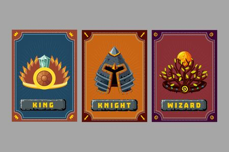Game asset pack. Crown and helmet kit. Fantasy card with magic items. User interface design elements with decorative frame. Cartoon vector illustration. Ilustração